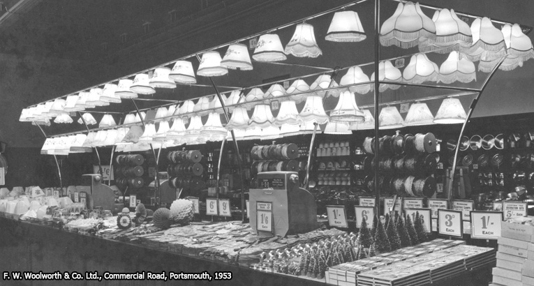 a bold display of christmas decorations in the f w woolworth store in portsmouth hampshire - 1950s Outdoor Christmas Decorations
