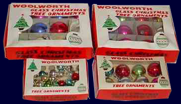 glass ornaments in assorted sizes made in occupied japan and sold in f w woolworth stores